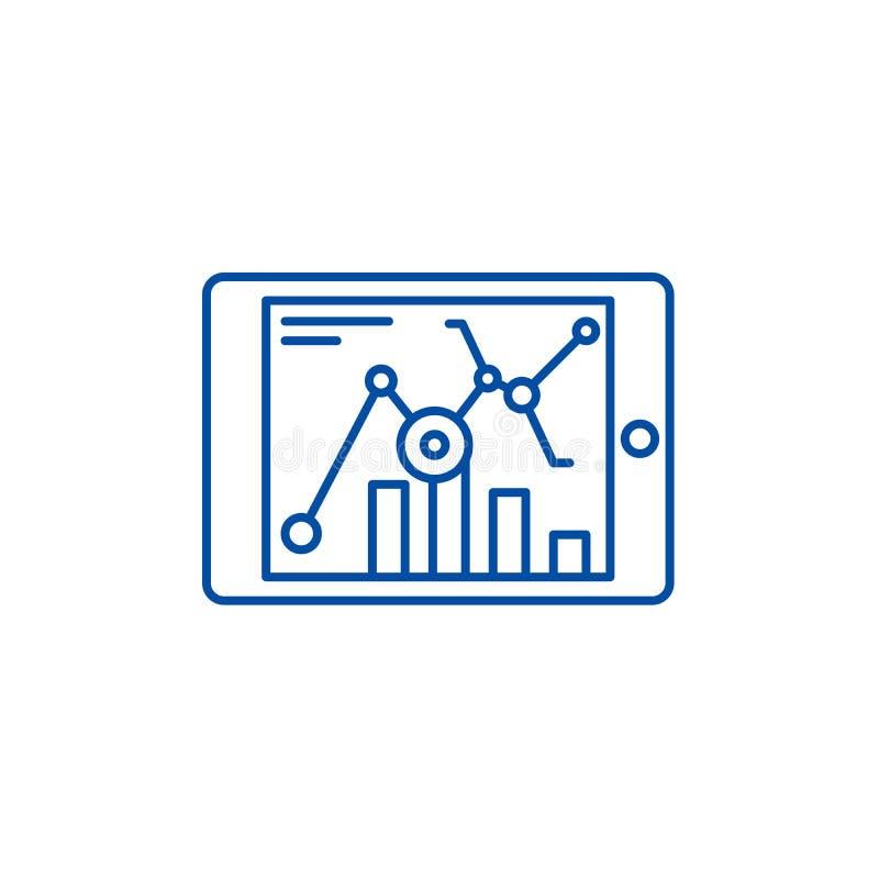 Σε απευθείας σύνδεση έννοια εικονιδίων γραμμών στατιστικών Σε απευθείας σύνδεση επίπεδο διανυσματικό σύμβολο στατιστικών, σημάδι, ελεύθερη απεικόνιση δικαιώματος