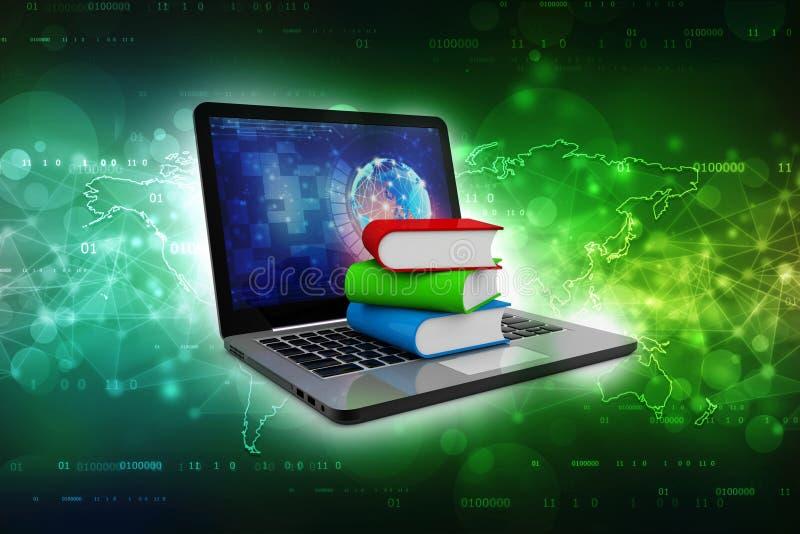 Σε απευθείας σύνδεση έννοια εκπαίδευσης - φορητός προσωπικός υπολογιστής με τα ζωηρόχρωμα βιβλία τρισδιάστατη απόδοση απεικόνιση αποθεμάτων