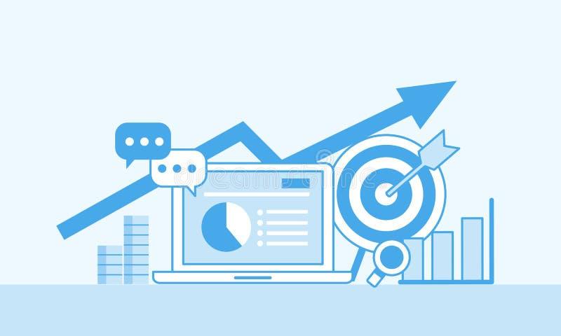 Σε απευθείας σύνδεση έννοια μάρκετινγκ, μονο χρώμα Στρατηγική και έκθεση on-line να ψωνίσει ή της σε απευθείας σύνδεση εκστρατεία διανυσματική απεικόνιση