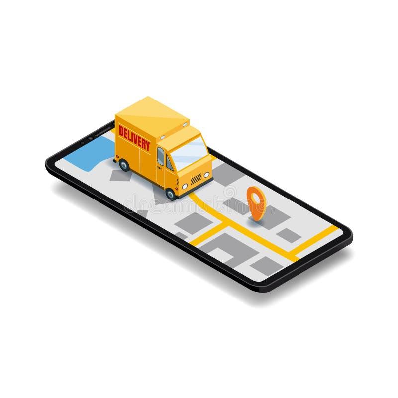 Σε απευθείας σύνδεση έννοια παράδοσης Smartphone με το φορτηγό, τρισδιάστατη διανυσματική isometric ψηφιακή κινητή εφαρμογή απεικ διανυσματική απεικόνιση