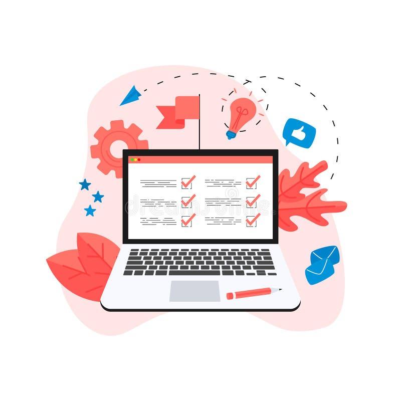 Σε απευθείας σύνδεση έννοια σχεδίων δράσης με τον επιχειρηματία Επιχείρηση, χρονική διαχείριση διανυσματική απεικόνιση