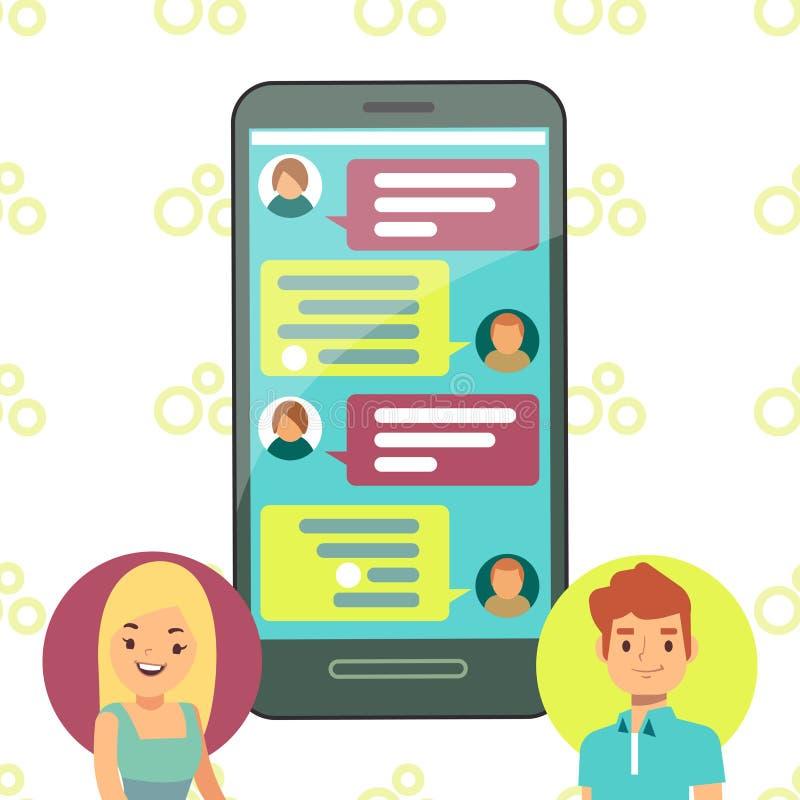 Σε απευθείας σύνδεση έννοια τηλεφωνικής συνομιλίας - να κουβεντιάσει κυττάρων κοριτσιών και αγοριών απεικόνιση αποθεμάτων