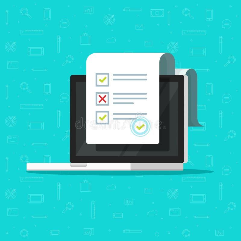 Σε απευθείας σύνδεση έρευνα μορφής στη διανυσματική απεικόνιση lap-top, επίπεδος υπολογιστής σχεδίου κινούμενων σχεδίων που παρου απεικόνιση αποθεμάτων