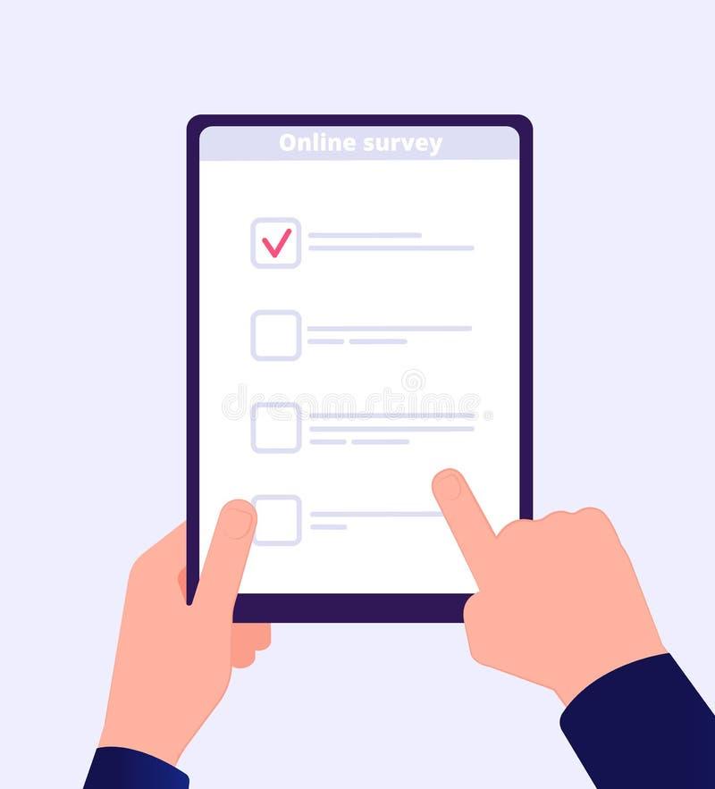 Σε απευθείας σύνδεση έρευνα Μορφή δοκιμής Ιστού ταμπλετών εκμετάλλευσης χεριών καταλόγων έρευνας Διαδικτύου Κινητή ψηφοφορία πελα διανυσματική απεικόνιση
