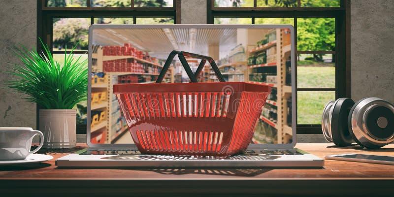 Σε απευθείας σύνδεση αγορές υπεραγορών Καλάθι αγορών σε ένα lap-top τρισδιάστατη απεικόνιση απεικόνιση αποθεμάτων