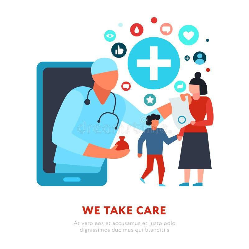 Σε απευθείας σύνδεση απεικόνιση ιατρικής οικογενειακών γιατρών διανυσματική απεικόνιση