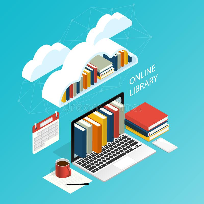Σε απευθείας σύνδεση βιβλιοθηκών εργασία γραφείων υπολογιστών σύννεφων αρχείων isometric ebook, isometric σύννεφο αρχείων βιβλιοθ ελεύθερη απεικόνιση δικαιώματος