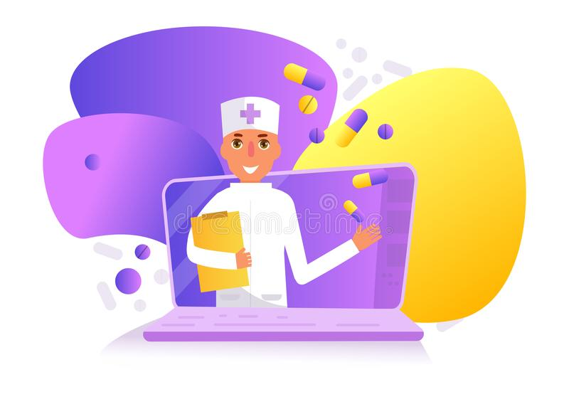 Σε απευθείας σύνδεση διάνυσμα γιατρών cartoon Απομονωμένο επίπεδο τέχνης διανυσματική απεικόνιση