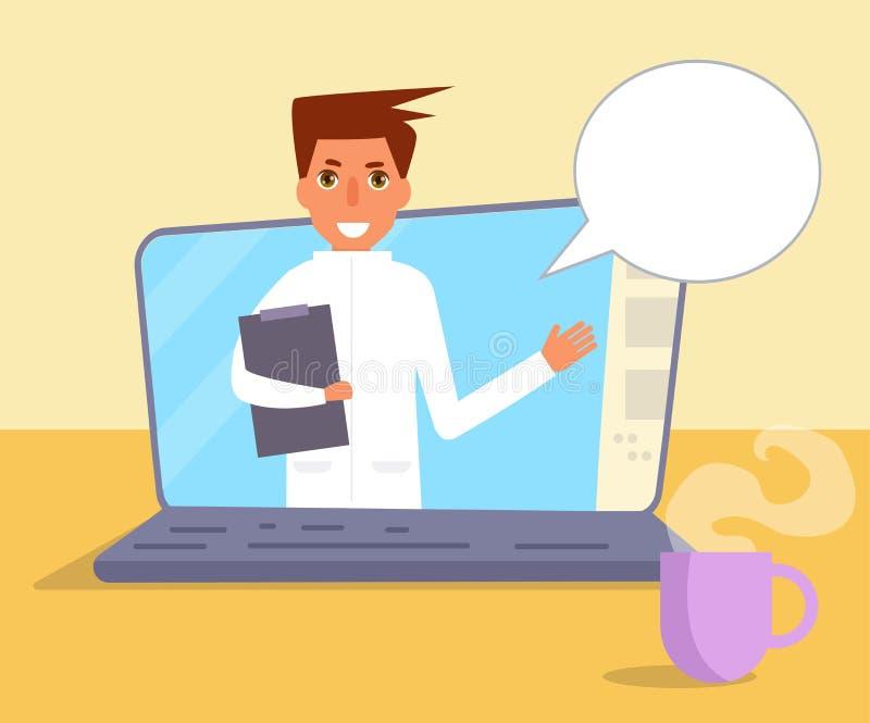 Σε απευθείας σύνδεση διάνυσμα γιατρών cartoon απεικόνιση αποθεμάτων