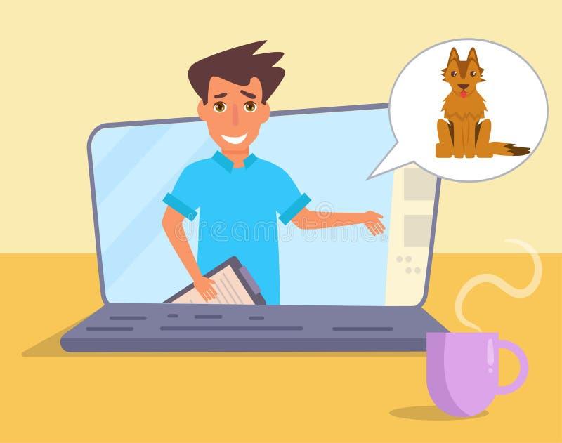 Σε απευθείας σύνδεση διαβουλεύσεις με τον κτηνίατρο ελεύθερη απεικόνιση δικαιώματος