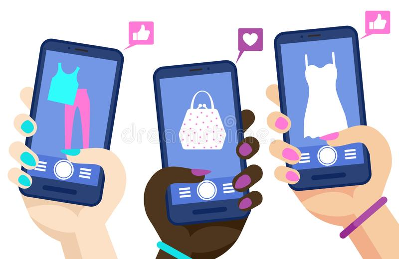 Σε απευθείας σύνδεση διανυσματική έννοια τηλεφωνικών αγορών Χέρια που κρατούν smartphones με την κοινωνική απεικόνιση σελίδων μέσ διανυσματική απεικόνιση