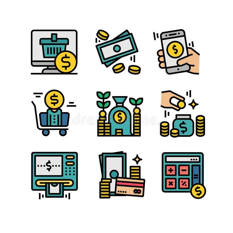 Σε απευθείας σύνδεση εικονίδια αγορών χρηματοδότησης και χρημάτων - διάνυσμα απεικόνιση αποθεμάτων