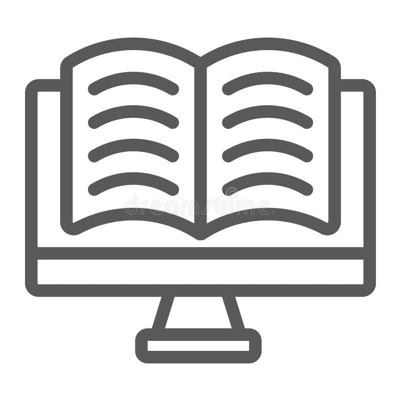 Σε απευθείας σύνδεση εικονίδιο γραμμών ανάγνωσης, εκμάθηση ε και εκπαίδευση ελεύθερη απεικόνιση δικαιώματος