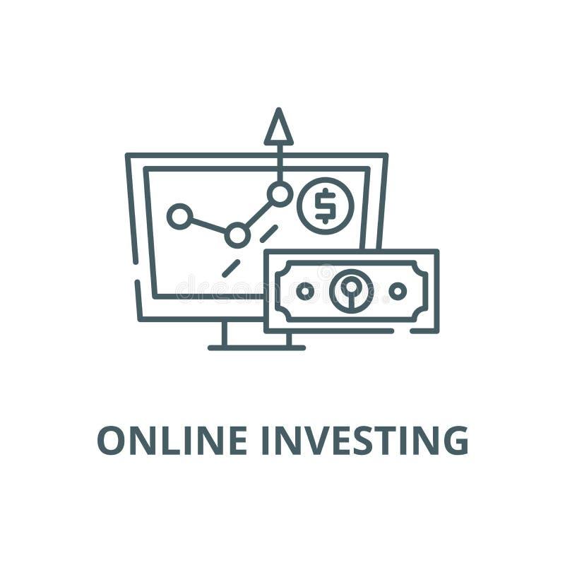 Σε απευθείας σύνδεση εικονίδιο γραμμών επένδυσης διανυσματικό, γραμμική έννοια, σημάδι περιλήψεων, σύμβολο απεικόνιση αποθεμάτων