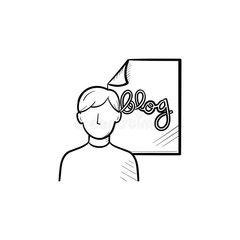 Σε απευθείας σύνδεση εικονίδιο περιλήψεων blog συρμένο χέρι doodle απεικόνιση αποθεμάτων