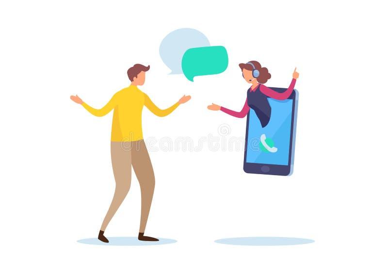 Σε απευθείας σύνδεση εξυπηρέτηση πελατών Υποστήριξη τηλεφωνικών κέντρων Μικροσκοπικό διάνυσμα απεικόνισης κινούμενων σχεδίων γραφ διανυσματική απεικόνιση