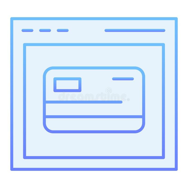 Σε απευθείας σύνδεση επίπεδο εικονίδιο εγγραφής καρτών Μπλε εικονίδια αγορών Ιστού στο καθιερώνον τη μόδα επίπεδο ύφος Μηχανή ανα απεικόνιση αποθεμάτων