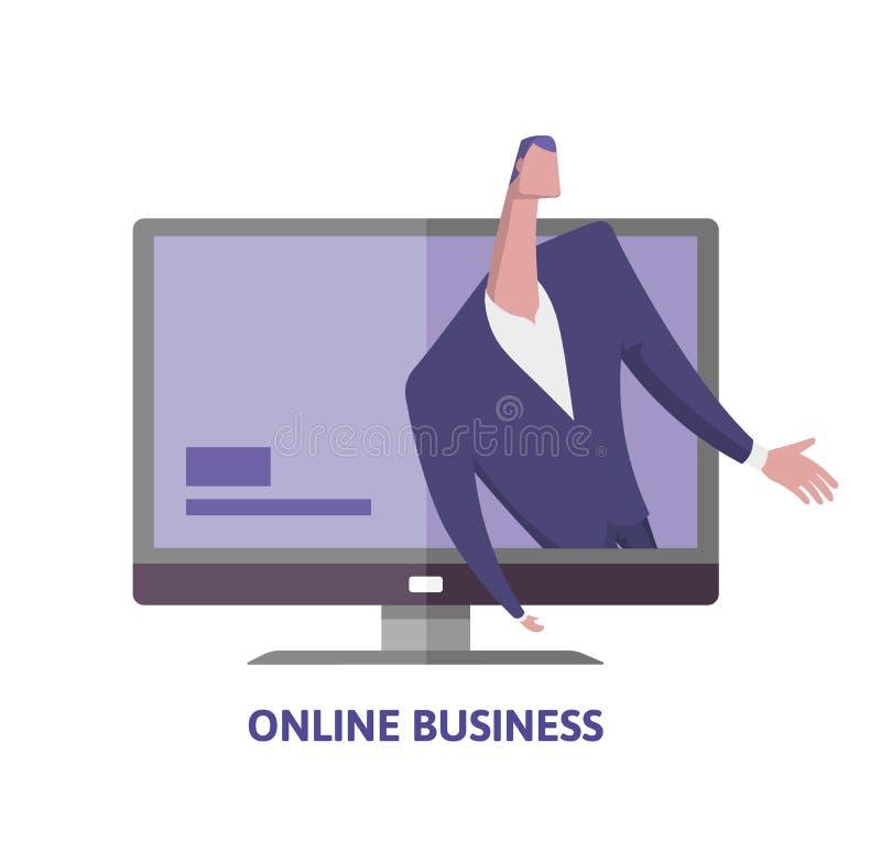 Σε απευθείας σύνδεση επιχείρηση Άτομο στο επιχειρησιακό κοστούμι στο όργανο ελέγχου υπολογιστών Επιχειρηματίας στην οθόνη Webinar ελεύθερη απεικόνιση δικαιώματος