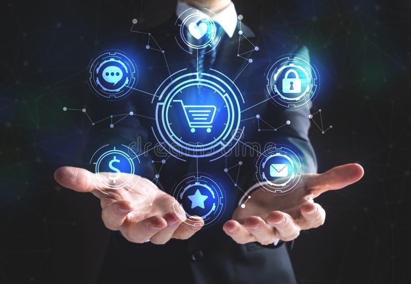 Σε απευθείας σύνδεση θέμα αγορών με τον επιχειρηματία απεικόνιση αποθεμάτων