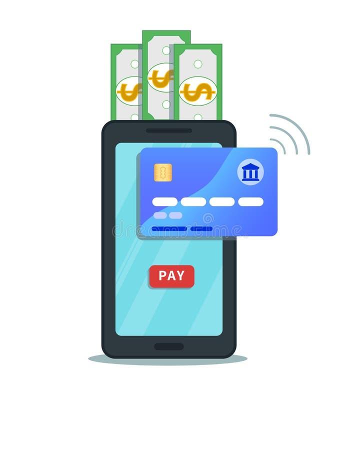 Σε απευθείας σύνδεση κινητή έννοια πληρωμής και μεταφοράς χρημάτων Επίπεδο σχέδιο εικονιδίων smartphone με το κουμπί αμοιβής στην απεικόνιση αποθεμάτων