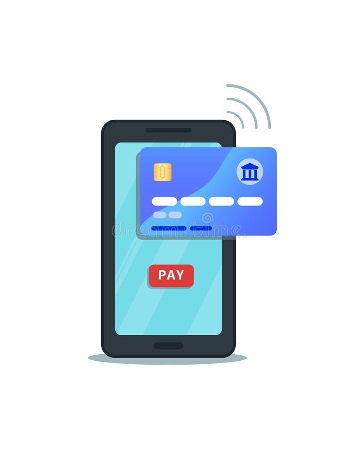 Σε απευθείας σύνδεση κινητή έννοια πληρωμής r Επίπεδο εικονίδιο smartphone με το κουμπί αμοιβής που απομονώνεται στο άσπρο υπόβαθ διανυσματική απεικόνιση