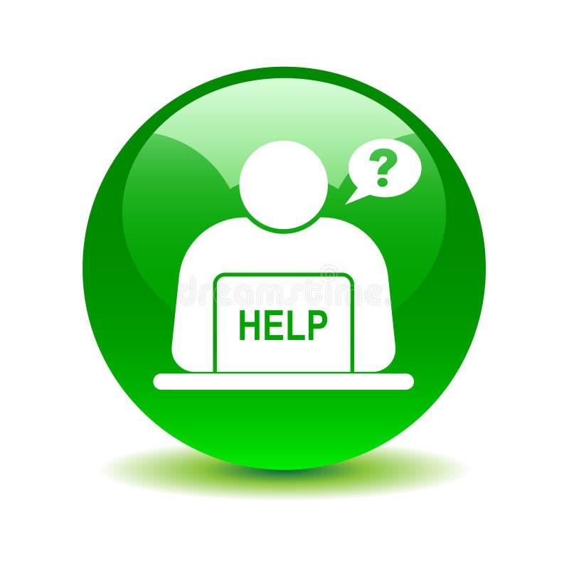 Σε απευθείας σύνδεση κουμπί υποστήριξης βοήθειας πράσινο διανυσματική απεικόνιση