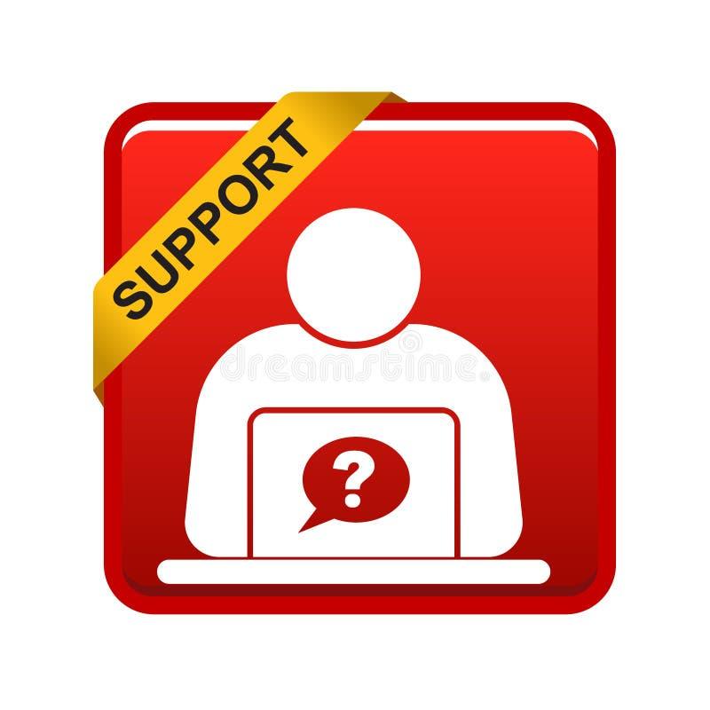 Σε απευθείας σύνδεση κόκκινο κουμπιών υποστήριξης διανυσματική απεικόνιση