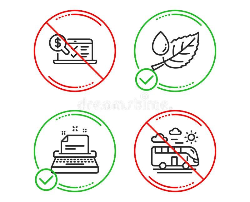 Σε απευθείας σύνδεση λογιστική, δροσιά φύλλων και εικονίδια γραφομηχανών καθορισμένες Σημάδι ταξιδιού λεωφορείων Λογιστικός έλεγχ ελεύθερη απεικόνιση δικαιώματος