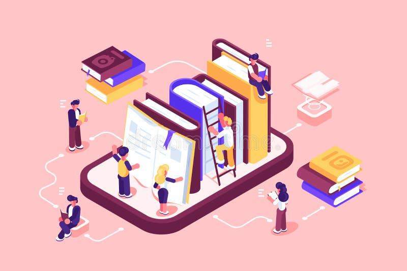 Σε απευθείας σύνδεση μέσα και βιβλία βιβλιοθηκών ελεύθερη απεικόνιση δικαιώματος