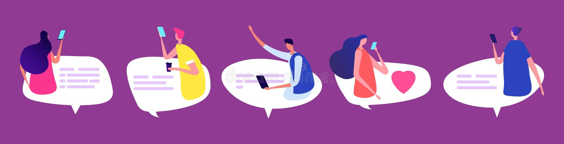 Σε απευθείας σύνδεση να κουβεντιάσει ανθρώπων Άνδρες και γυναίκες με τις λεκτικές φυσαλίδες Φιλική διεθνής διανυσματική απεικόνισ απεικόνιση αποθεμάτων