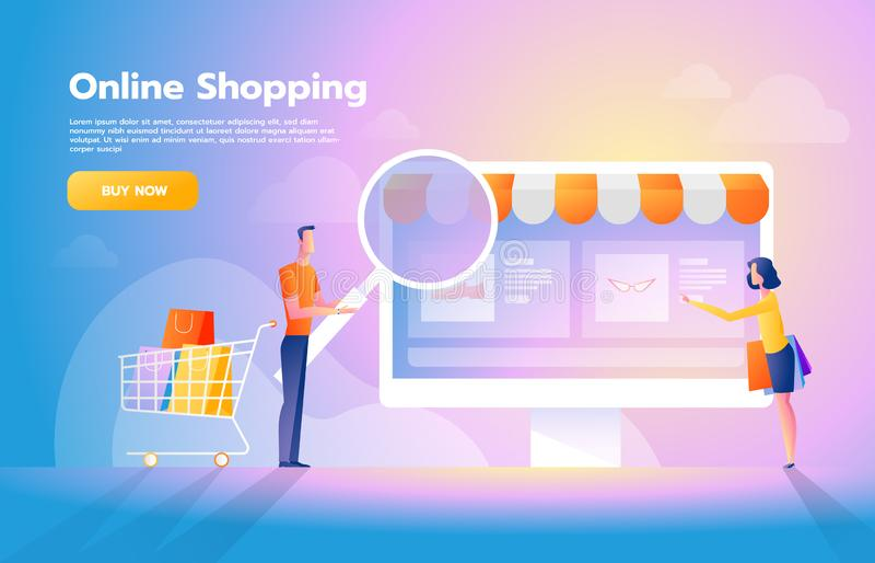 Σε απευθείας σύνδεση πληρωμή που χρησιμοποιεί την έννοια εφαρμογής με το ζεύγος που ψωνίζει στο smartphone Αγορές στο διαδίκτυο δ διανυσματική απεικόνιση