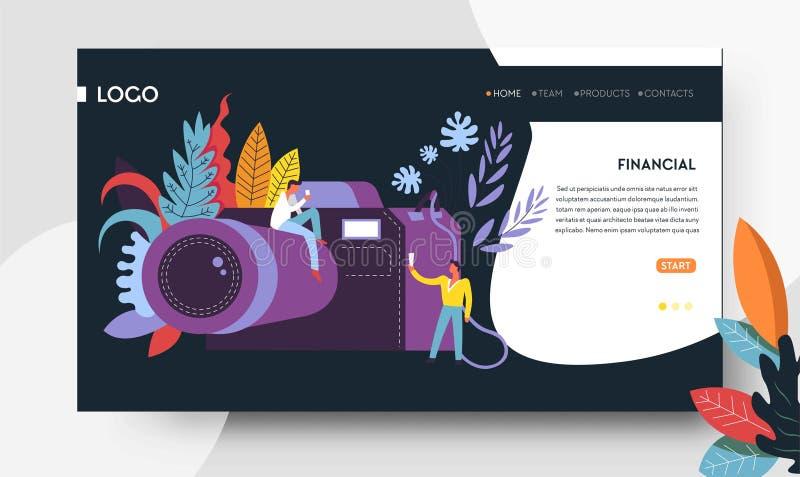 Σε απευθείας σύνδεση πρότυπο ιστοσελίδας καταστημάτων ψηφιακών κάμερα χόμπι ή επαγγέλματος φωτογράφων απεικόνιση αποθεμάτων