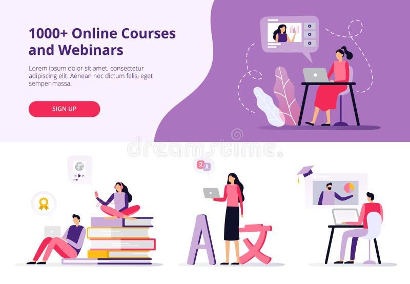 Σε απευθείας σύνδεση σειρές μαθημάτων Γυναίκες και άνδρες που εργάζονται με τα lap-top, γλώσσες εκμάθησης και προσοχή ενός βίντεο απεικόνιση αποθεμάτων
