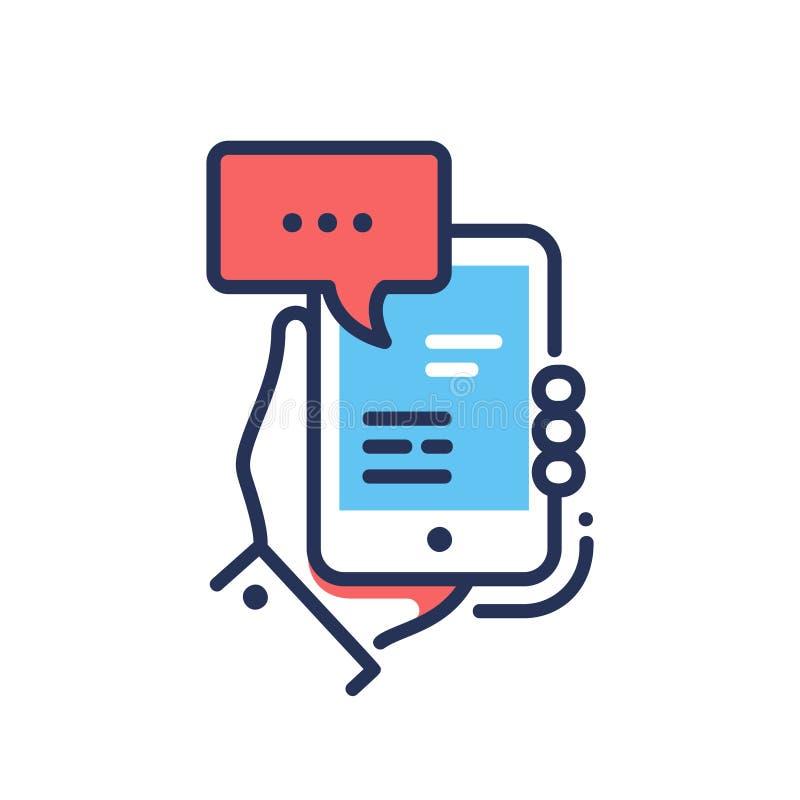 Σε απευθείας σύνδεση συνομιλία - σύγχρονο διανυσματικό ενιαίο εικονίδιο σχεδίου γραμμών διανυσματική απεικόνιση