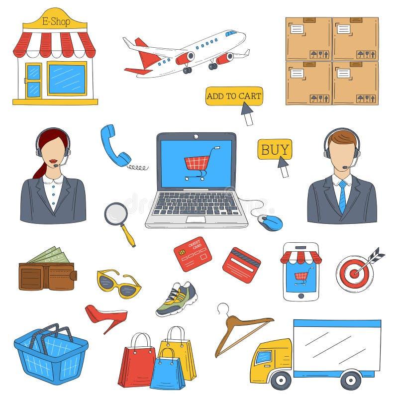 Σε απευθείας σύνδεση συρμένα doodle χέρι εικονίδια αγορών καθορισμένα διανυσματική απεικόνιση