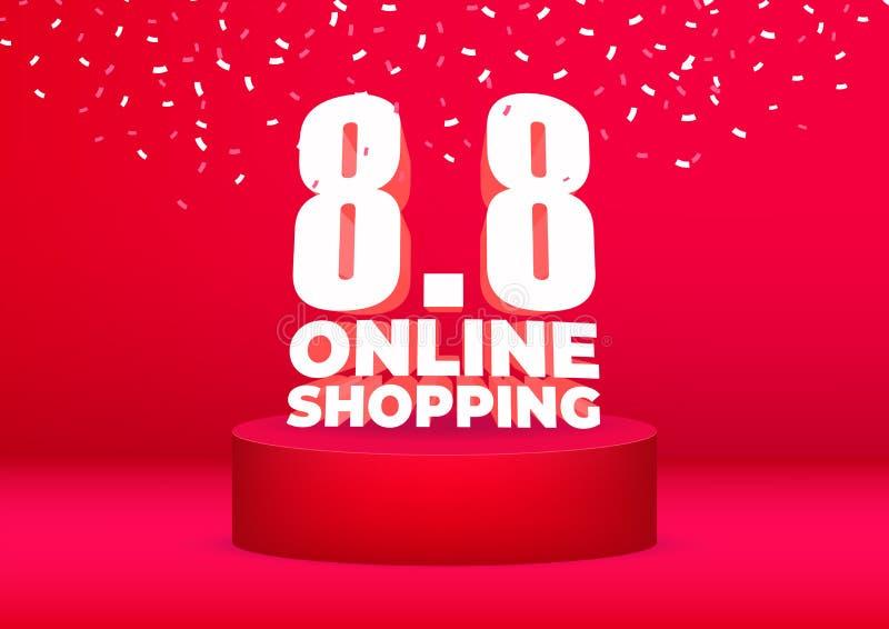 8 8 σε απευθείας σύνδεση σχέδιο αφισών ή ιπτάμενων πώλησης αγορών Σε απευθείας σύνδεση πώληση ημέρας αγορών στο κόκκινο υπόβαθρο ελεύθερη απεικόνιση δικαιώματος