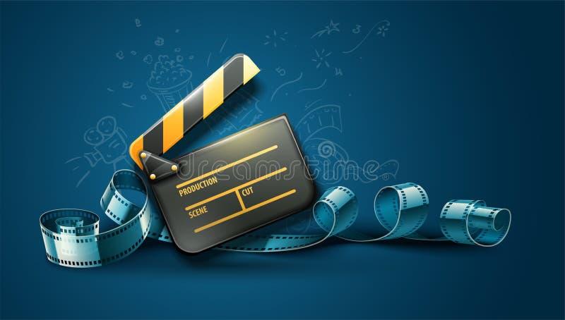 Σε απευθείας σύνδεση σχέδιο αφισών κινηματογράφων τέχνης κινηματογράφων ελεύθερη απεικόνιση δικαιώματος