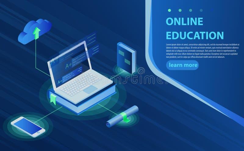 Σε απευθείας σύνδεση σύνθεση εικονιδίων εκπαίδευσης isometric με τον ηλεκτρονικό υπολογισμό βιβλιοθηκών και σύννεφων smartphone β διανυσματική απεικόνιση