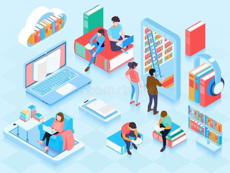Σε απευθείας σύνδεση σύνθεση στοιχείων βιβλιοθήκης Isometric ελεύθερη απεικόνιση δικαιώματος