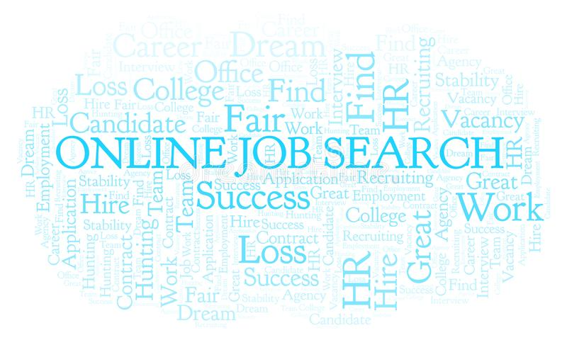 Σε απευθείας σύνδεση σύννεφο λέξης αναζήτησης εργασίας απεικόνιση αποθεμάτων