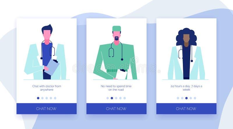 Σε απευθείας σύνδεση σύνολο 4 γιατρών διανυσματική απεικόνιση