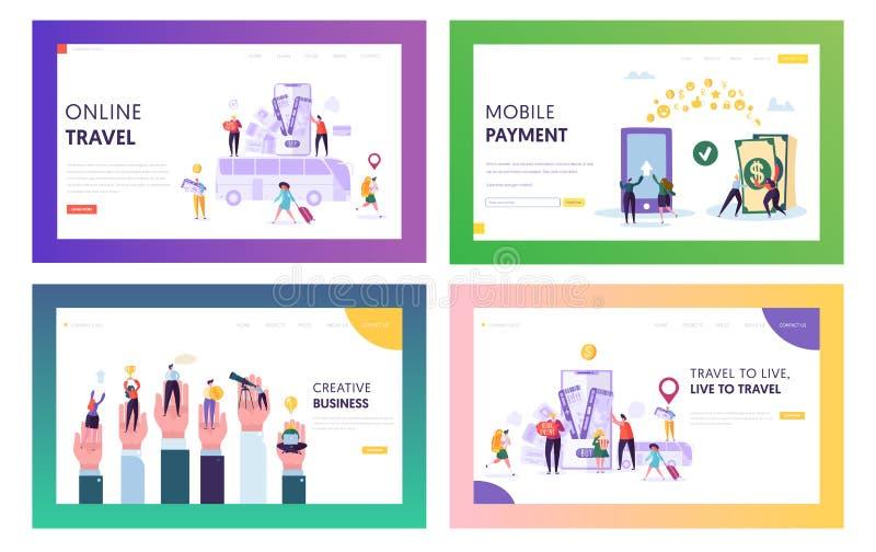 Σε απευθείας σύνδεση σύνολο σελίδων προσγείωσης ταξιδιού Κόσμος επίσκεψης σε Smartphone Κάνετε την κινητή πληρωμή, αγοράστε κάτι  διανυσματική απεικόνιση
