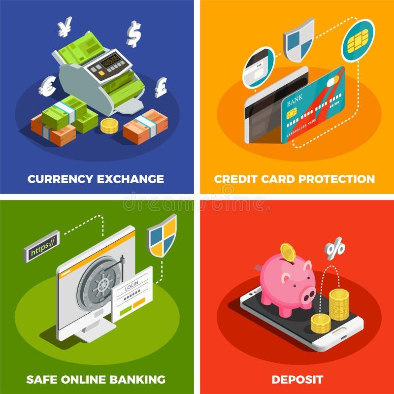 Σε απευθείας σύνδεση τραπεζικές εργασίες 4 Isometric εικονίδια απεικόνιση αποθεμάτων