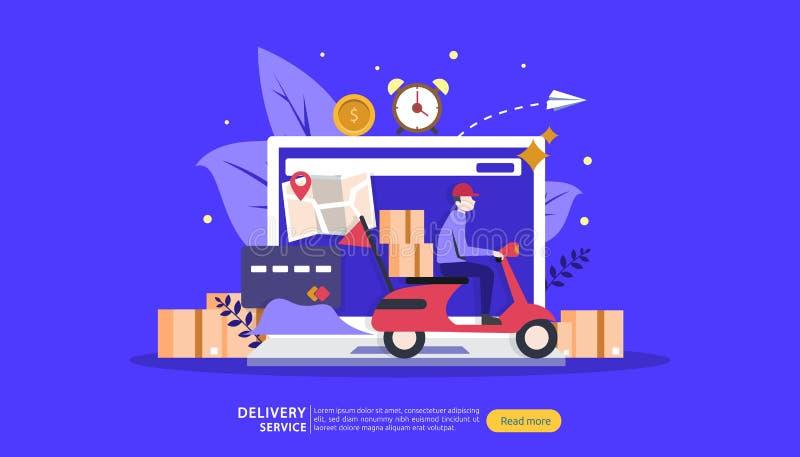 Σε απευθείας σύνδεση υπηρεσία παράδοσης σαφής έννοια καταδίωξης διαταγής με το μικροσκοπικό φορτηγό πεδίων χαρακτήρα και φορτίου  διανυσματική απεικόνιση