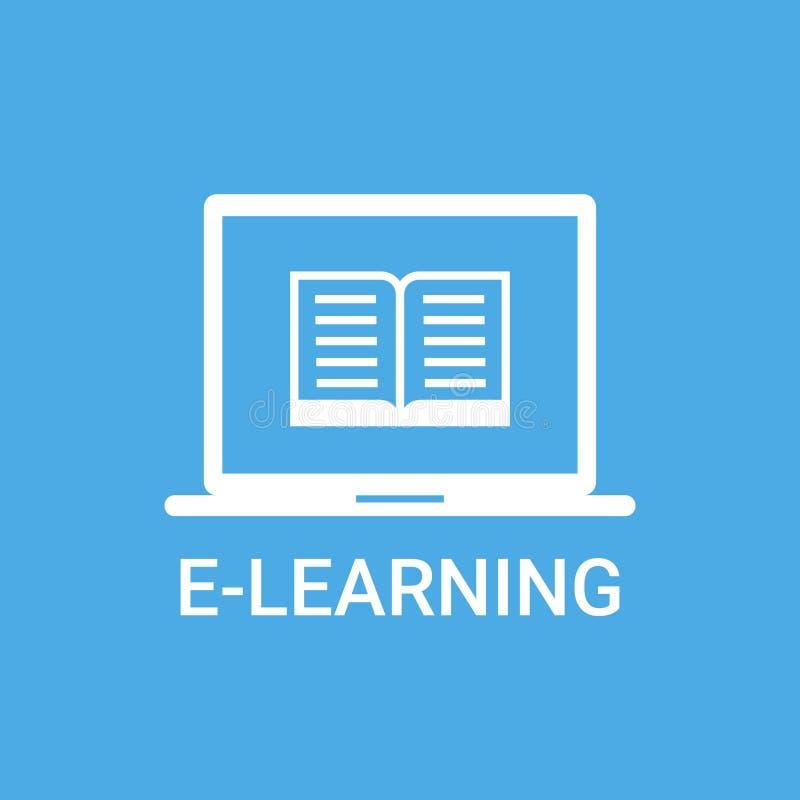 Σε απευθείας σύνδεση φορητός προσωπικός υπολογιστής έννοιας εικονιδίων εκπαίδευσης ετικετών ε-εκμάθησης με το εικονίδιο βιβλίων απεικόνιση αποθεμάτων