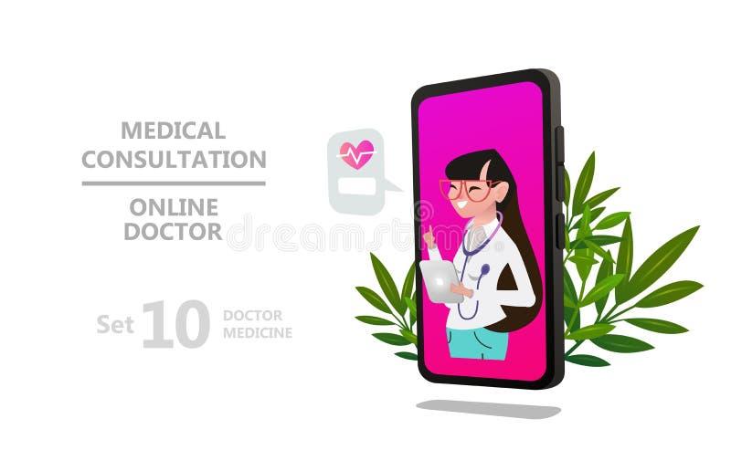 Σε απευθείας σύνδεση χαρακτήρας γυναικών γιατρών ή υπομονετικές διαβουλεύσεις ελεύθερη απεικόνιση δικαιώματος