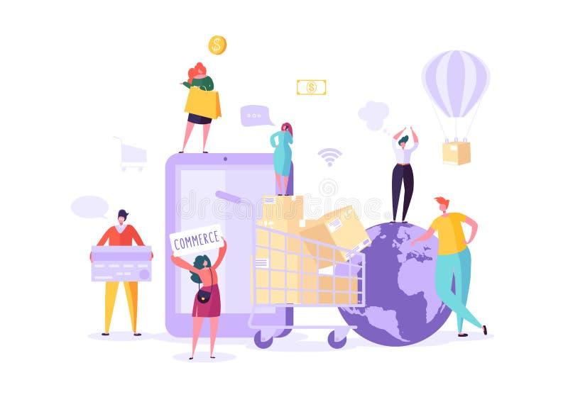 Σε απευθείας σύνδεση χρησιμοποίηση Smartphone καταστημάτων γυναικών Ηλεκτρονικό εμπόριο, καταναλωτισμός, λιανική πώληση, έννοια π διανυσματική απεικόνιση