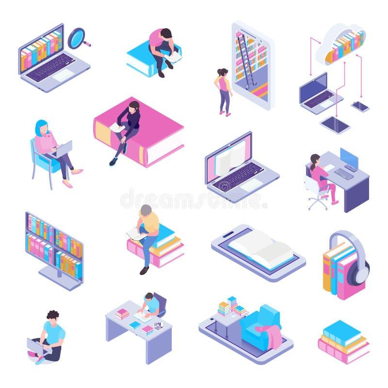 Σε απευθείας σύνδεση Isometric σύνολο βιβλιοθήκης ελεύθερη απεικόνιση δικαιώματος