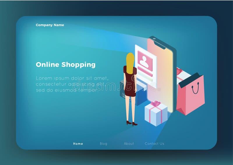 Σε απευθείας σύνδεση shoping έννοια διανυσματική απεικόνιση
