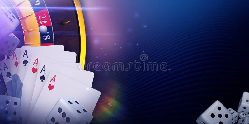 Σε απευθείας σύνδεση έμβλημα τυχερού παιχνιδιού χαρτοπαικτικών λεσχών απεικόνιση αποθεμάτων